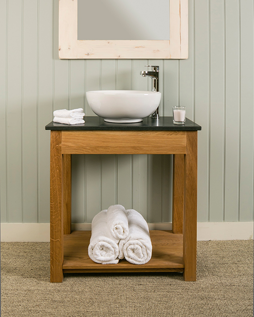 Superb ... Bathroom Washstand In Solid Oak With Honed Black Granite Top And  Countertop Sink.